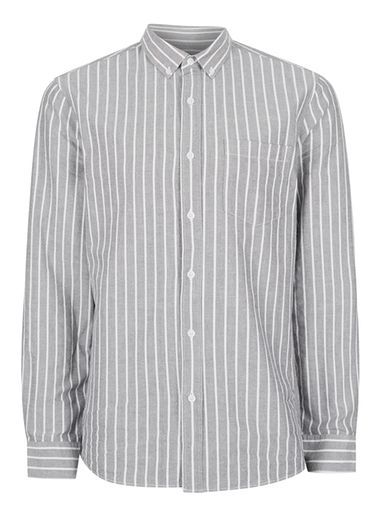 facf9fe498d 1920s Style Mens Work Shirts Mens Grey and White Stripe Button Down Casual  Shirt  25.00 AT vintagedancer.com