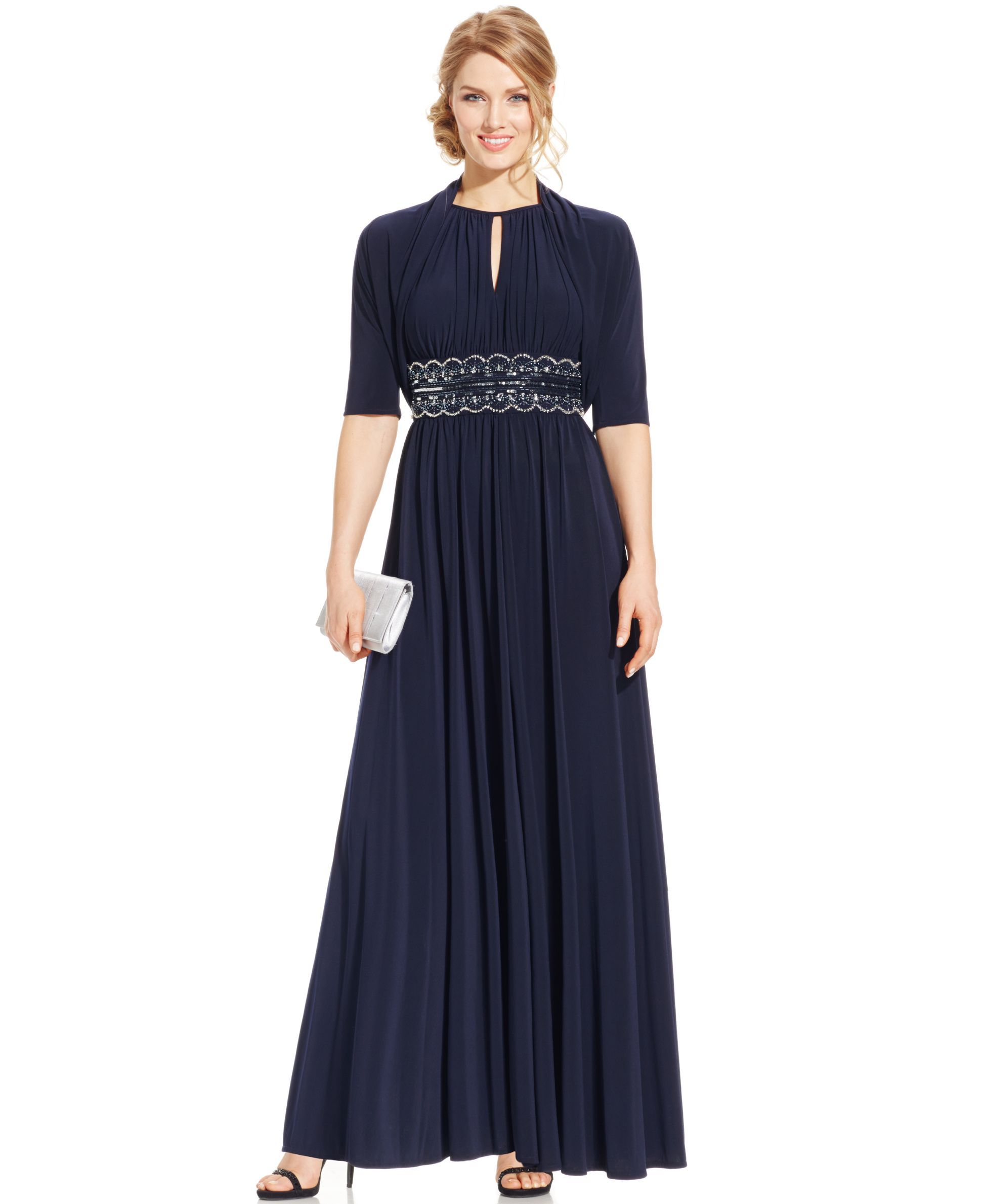 R&M Richards Beaded Keyhole Evening Gown and Jacket | Products ...