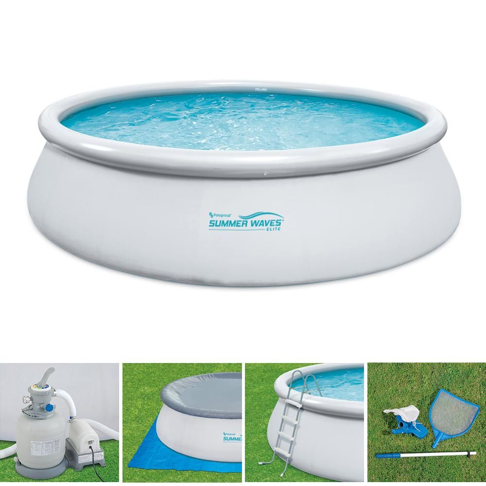 Summer Waves Elite Quick Set 18 Ft Round X 48 In D Inflatable Pool With Sand Filter Cover Ground Cloth Maint Kit P10018481 The Home Depot Inflatable Pool Summer Waves Pool