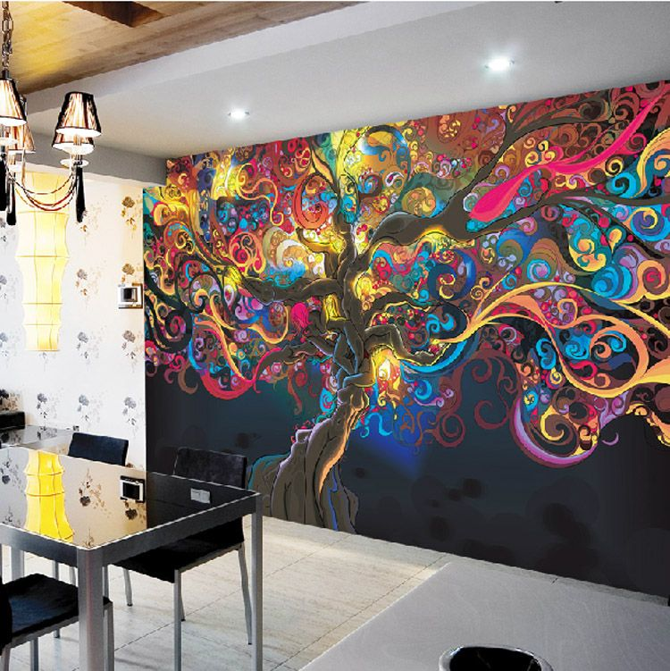 Tree Of Life Photo Wallpaper Psychedelic Wallpaper Custom Wall Mural Art Bedroom  Bedroom Bar Shop Room Decor Natural Scenery
