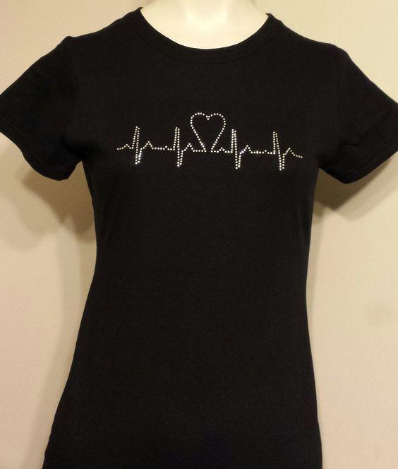 Rhinestone Bling Ecg Ekg Heartbeart Fitted T Shirt Tee Gift RN LPN CNA Student Nurse by HotCommods on Etsy https://www.etsy.com/listing/234194429/rhinestone-bling-ecg-ekg-heartbeart