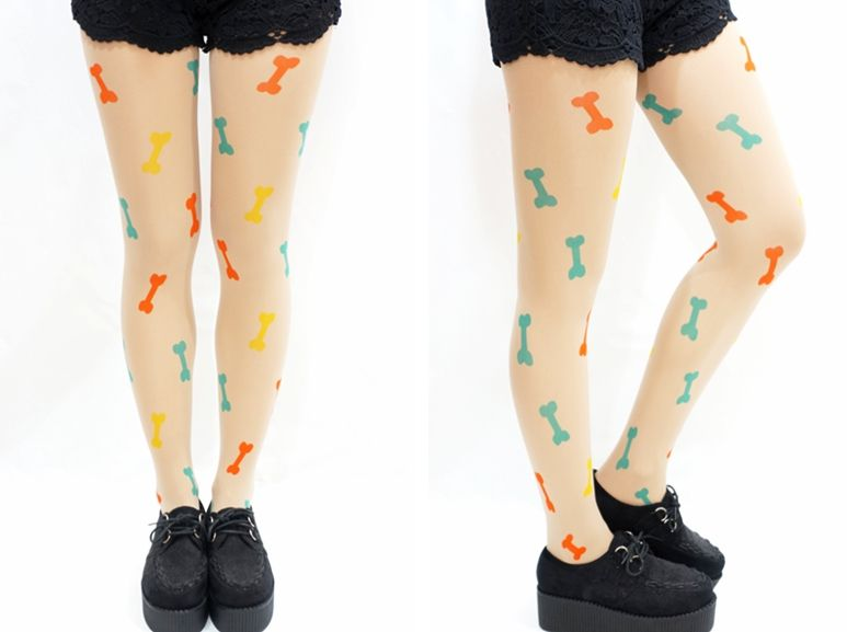 "Kawaii Colorful Bone Tattoo Tights     One Size   hip: 33.5-38.5"" (85-98cm)   height: 4'11""-5'57"" (140cm~170cm)   (with no paper package)"