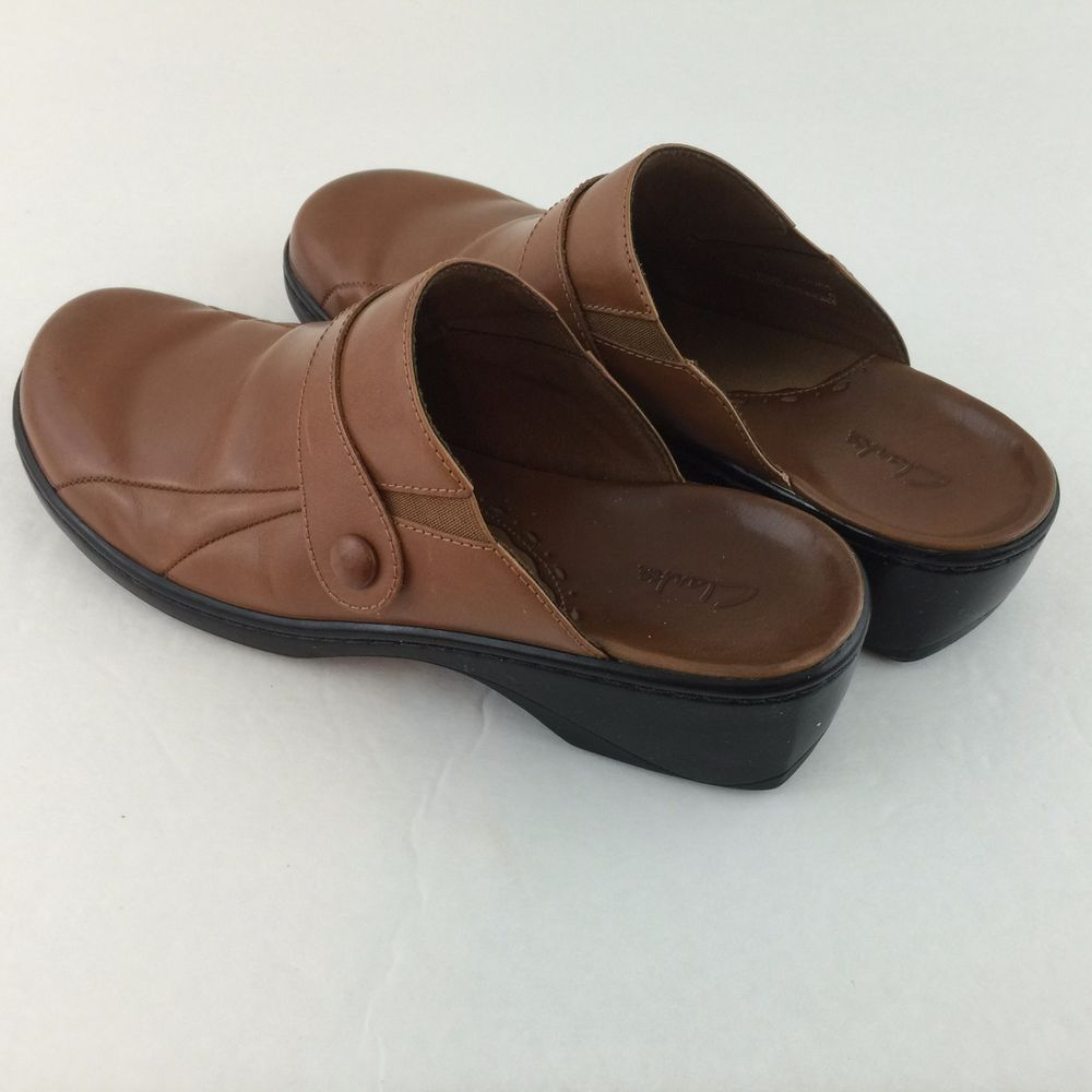 Clarks Clog Mules Shoes Slip On Slides Brown Leather Womens