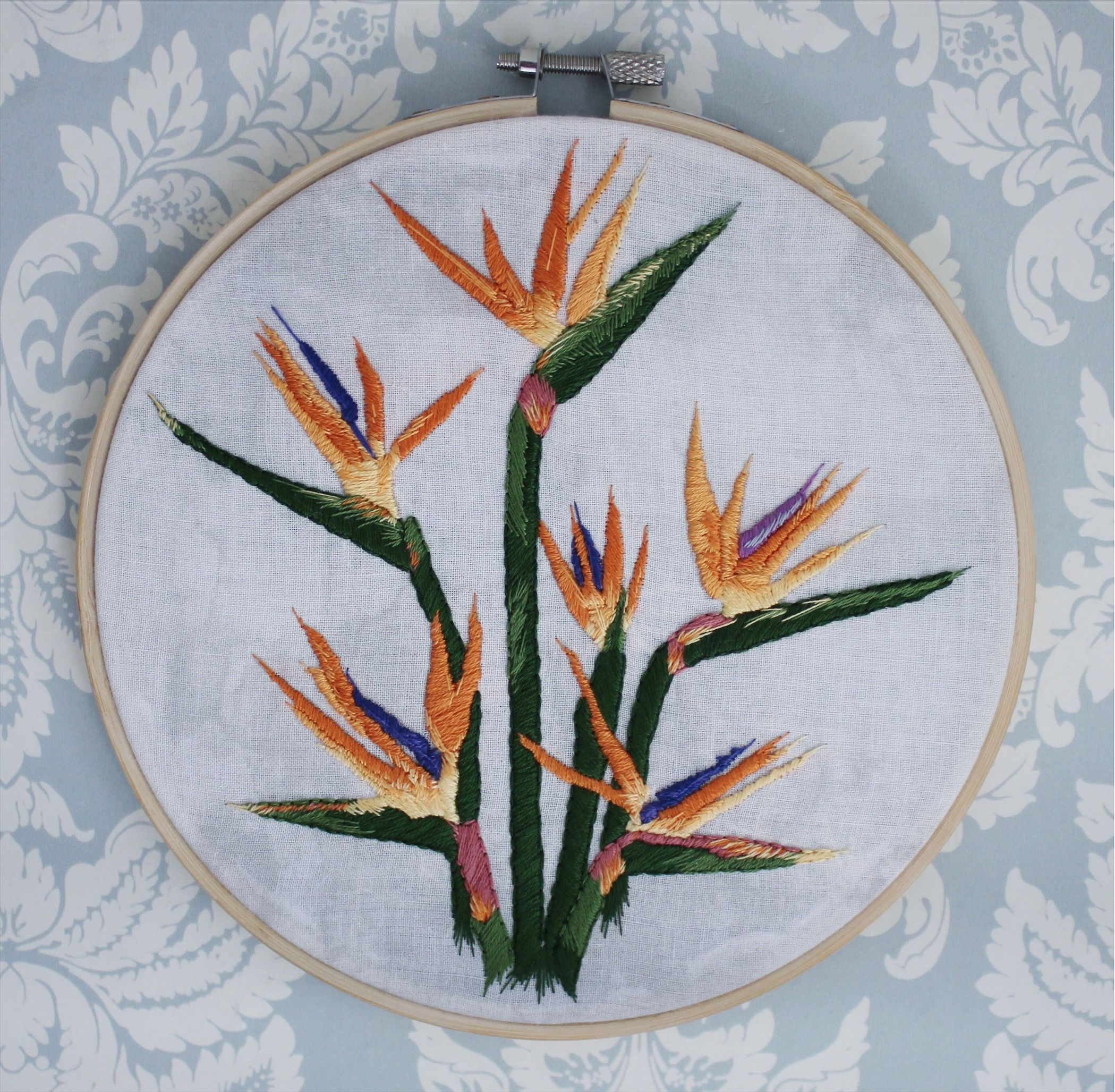 Birds Of Paradise Framed Embroidery Framed Embroidery Embroidery Embroidered Art