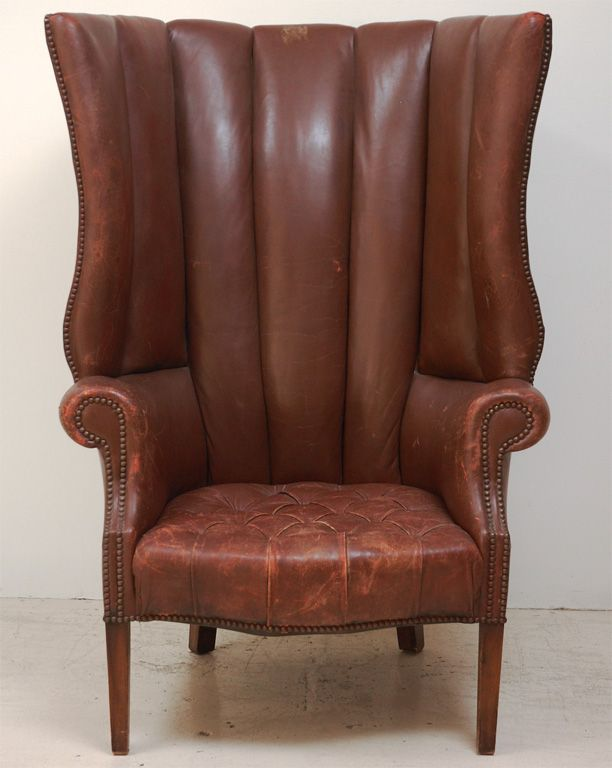 1930u0027s Brown Leather Wingback Chair