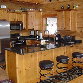 Küchen Rustikal · Primitive Schränke · Knotty Pine Kitchen With Black  Counter Tops