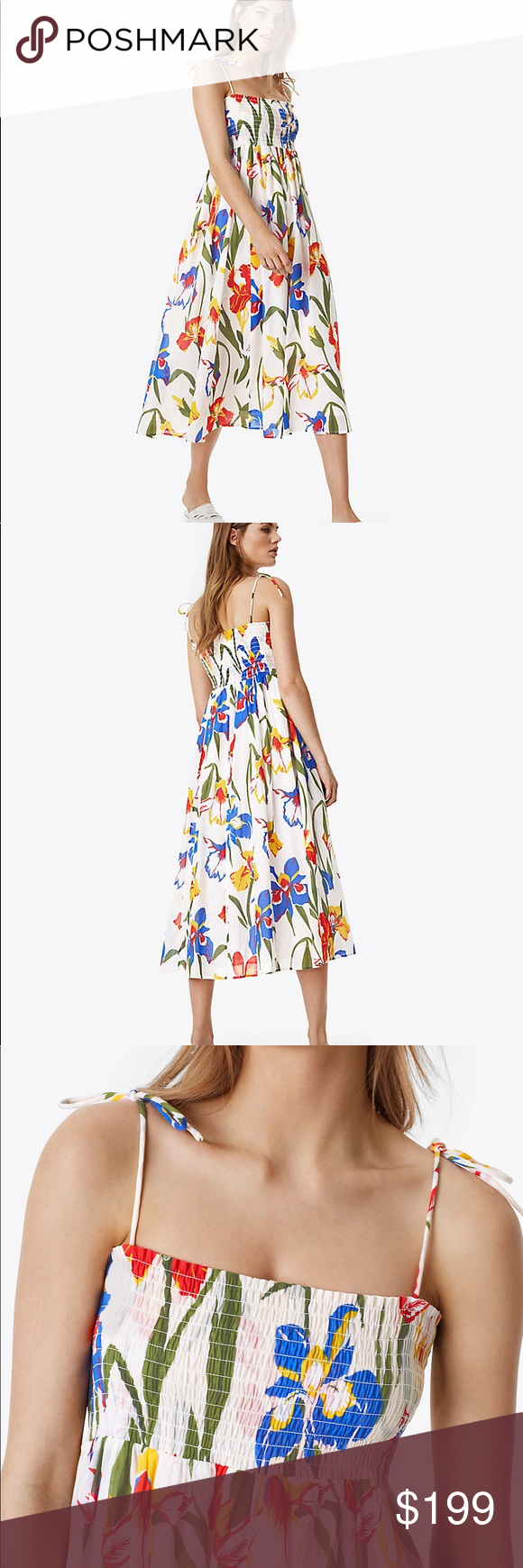 9b3c4e81f8 NWOT Tory Burch Painted Iris Dress Wear it two ways: Tory's smocked Convertible  Iris Beach Dress can go from the sand to the streets.