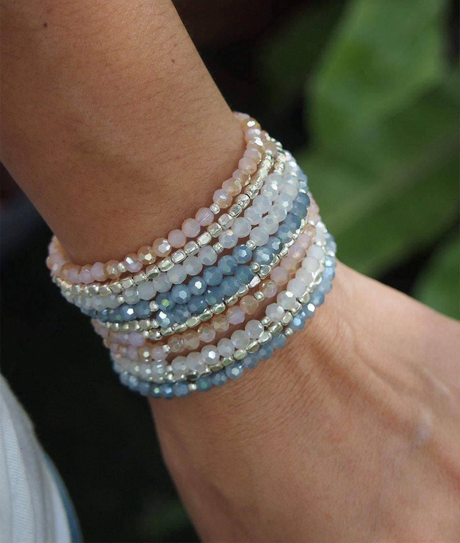 Sandy crystal memory wire bracelet, Boho Wrap Bracelet, Beadwork bracelet by G2Fdesign on Etsy
