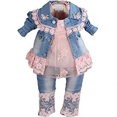8fb8745e4 YAO Baby Girls Clothing Sets 3 Pieces Sets T Shirt Denim Jacket Jeans  (1-2Years, Pink)