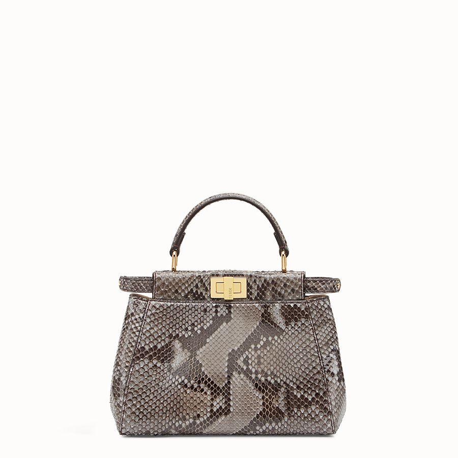 e9c2c731a36 9 x 7 x 4 FENDI MINI PEEKABOO - Handbag in asphalt-grey python - view 1  detail