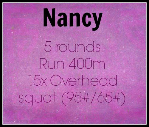 #CrossFit #WOD 4/18/14 #Nancy 5 rounds for time: Run 400m 15 overhead squats 65 lbs. Buyout: Muscle Ups Challenge