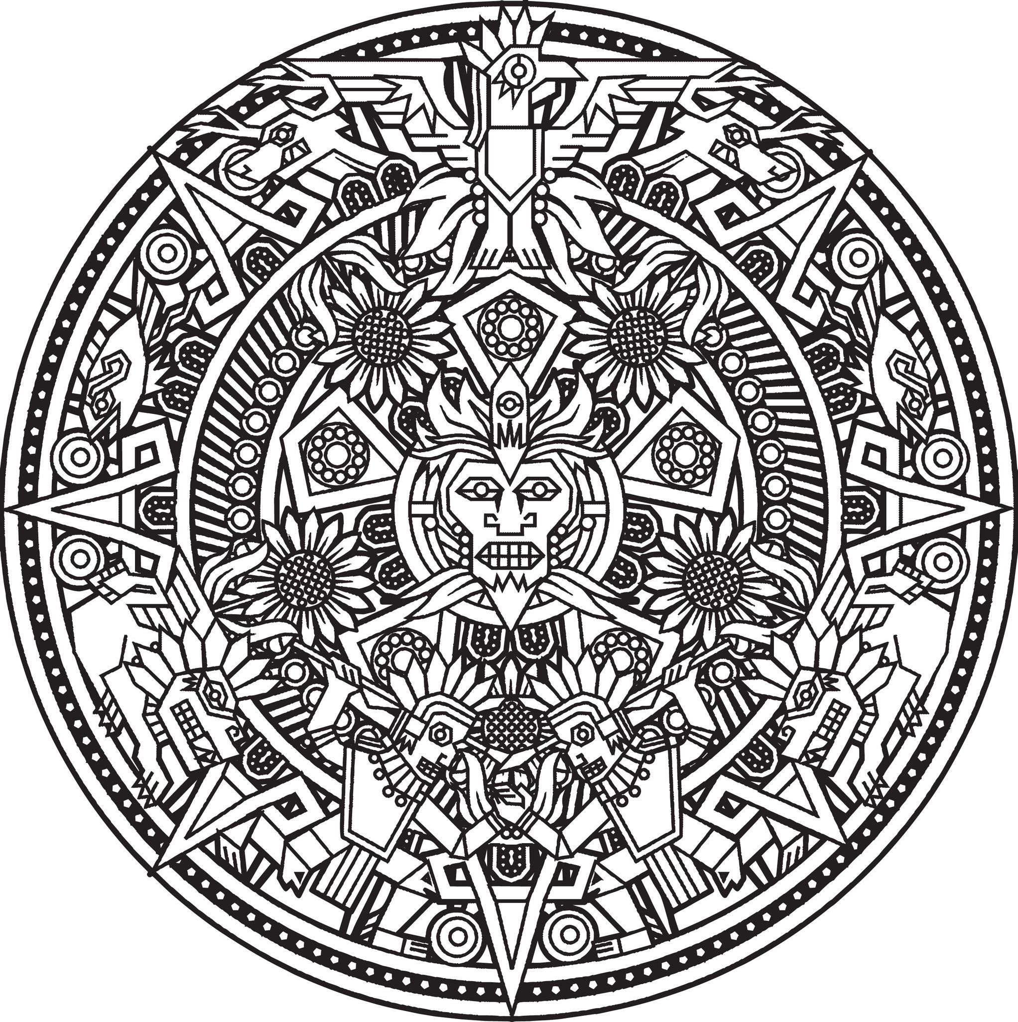 Free Printable Adult Colouring Page Mandala Zen Design