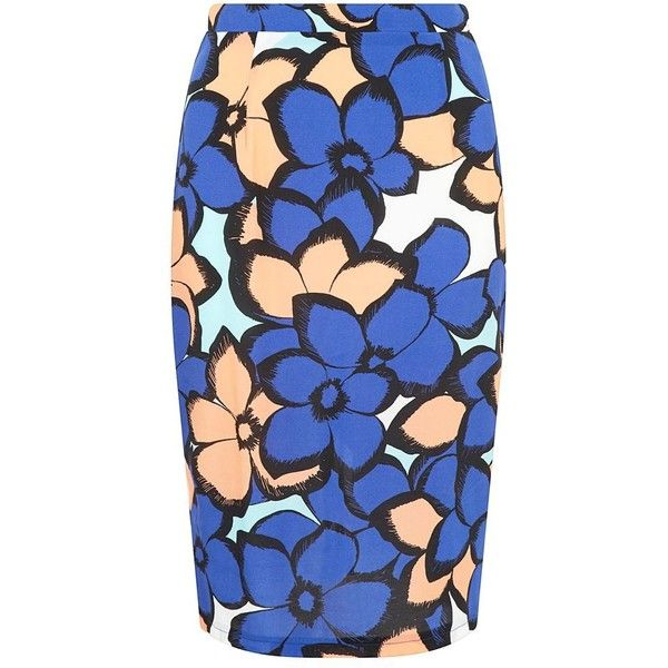 You Blue Floral Print Midi Skirt found on Polyvore