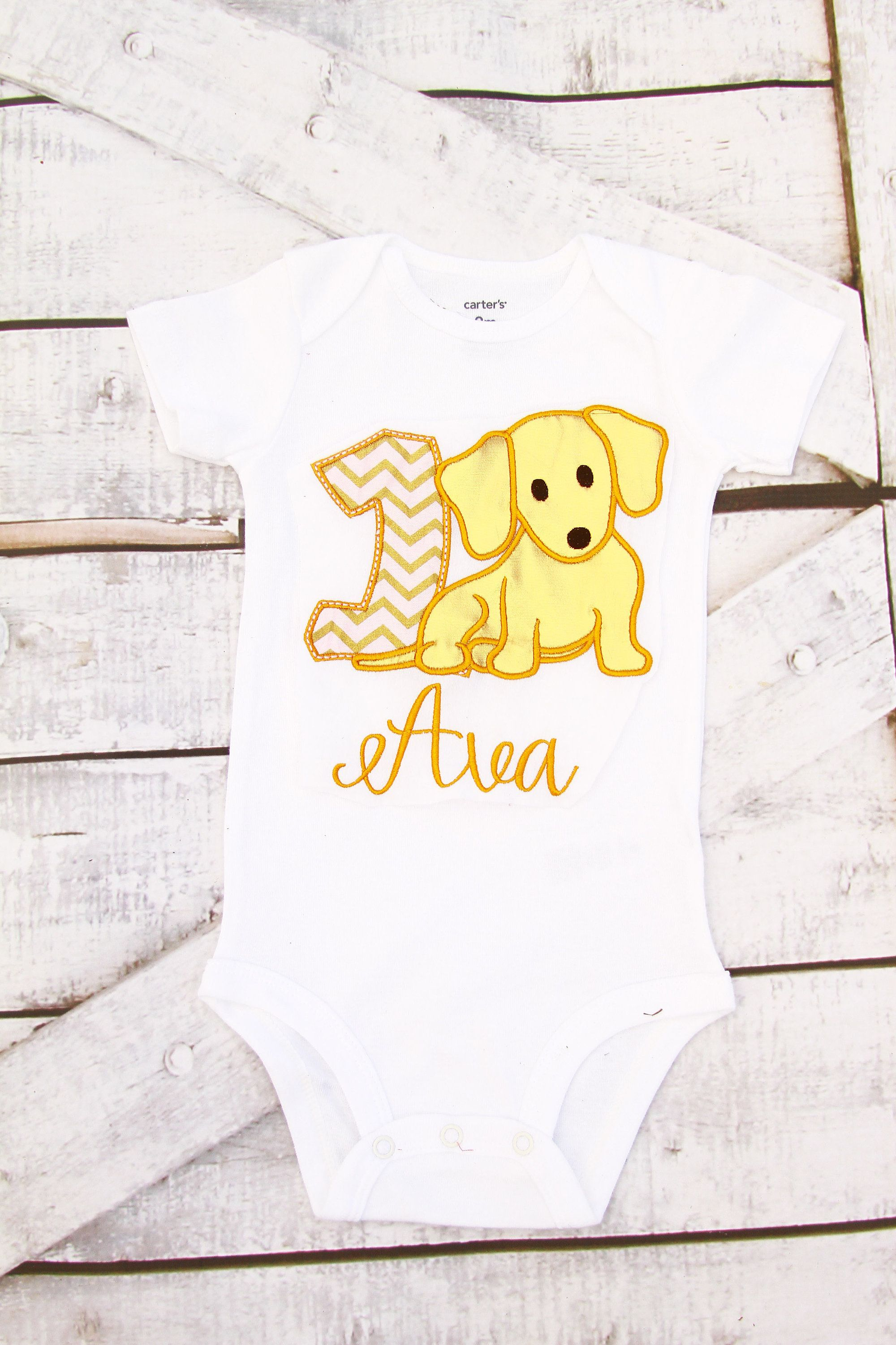 Baby girl first birthday pink and gold puppy baby girl first