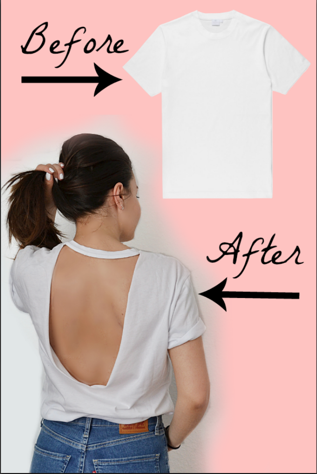 9ea75565a90a Turn your plain T-shirt into a stylish backless top. How to cut T-shirts  tutorial #2018tshirts #clothinghacks #fashiondiy