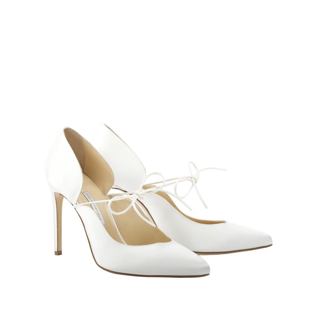 'Carine Bridal' - Ivory Crepe Satin Pump with Front Tie – Bionda Castana Online Store