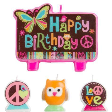 Hippie Chick Birthday Candles 4ct