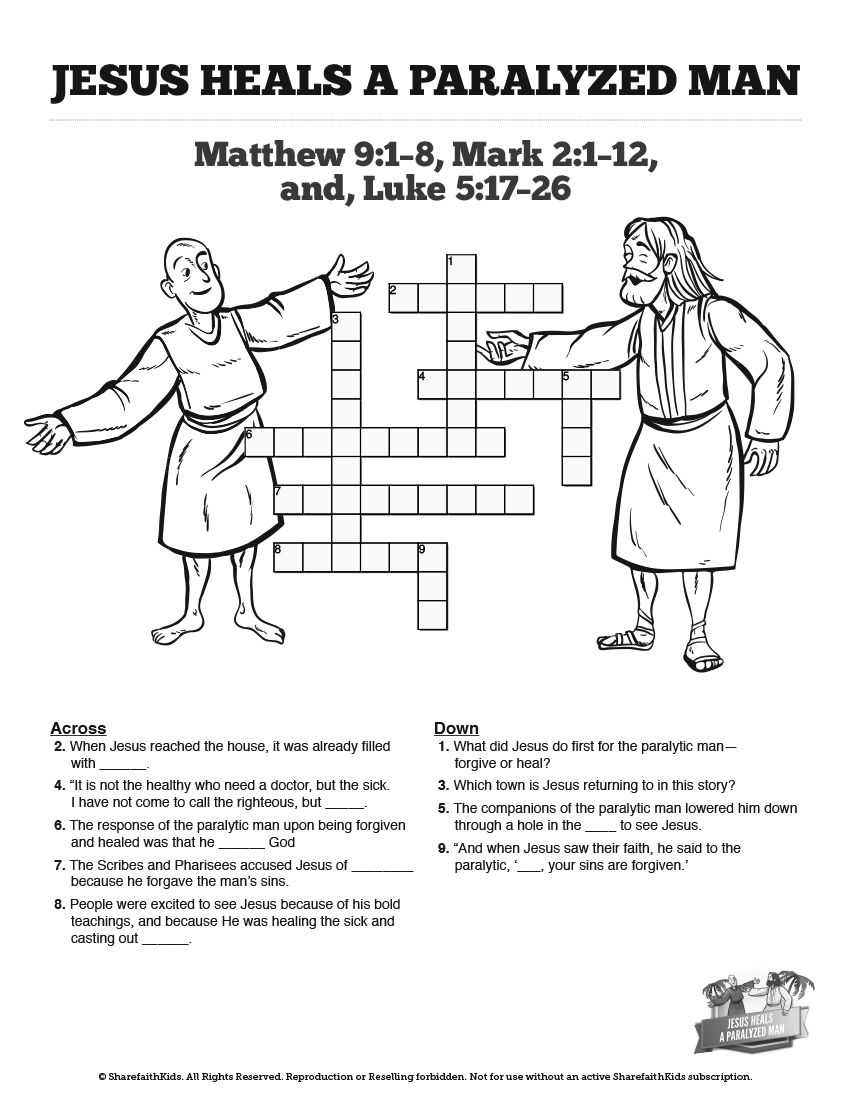 Luke 5 Jesus Heals The Paralytic Sunday School Crossword Puzzles