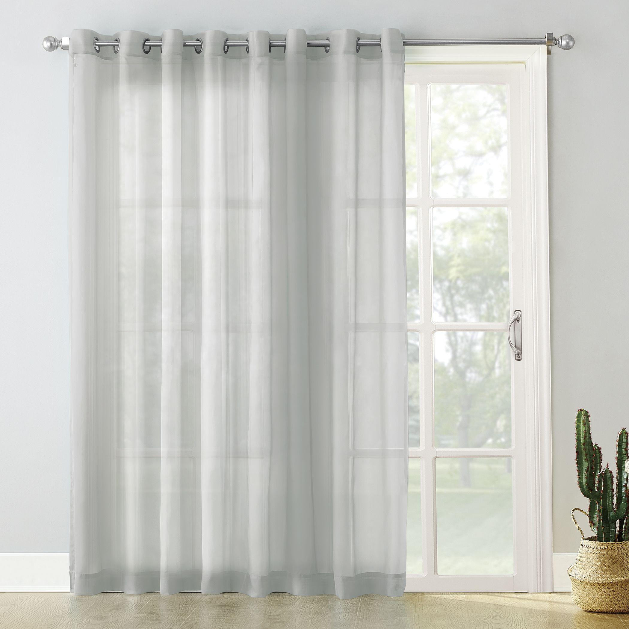 No 918 Emily Extra Wide Sheer Voile Sliding Door Patio Curtain Panel Walmart Com Patio Door Curtains Sliding Patio Doors Panel Curtains