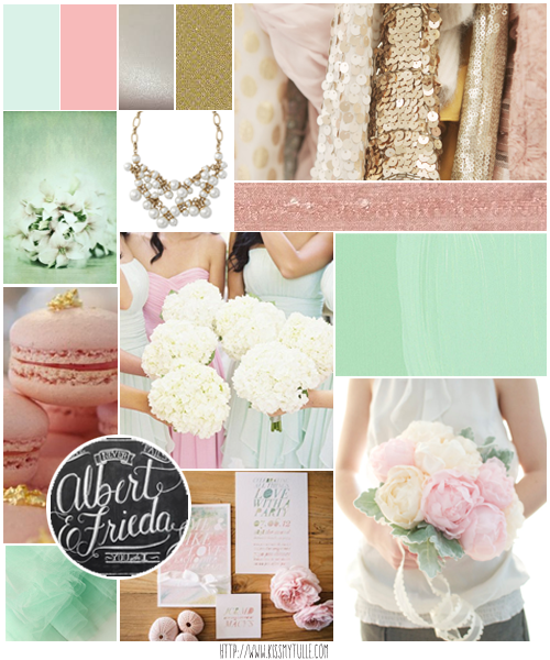 Wedding Candy: Modern Mint Green And Blush Pink Wedding