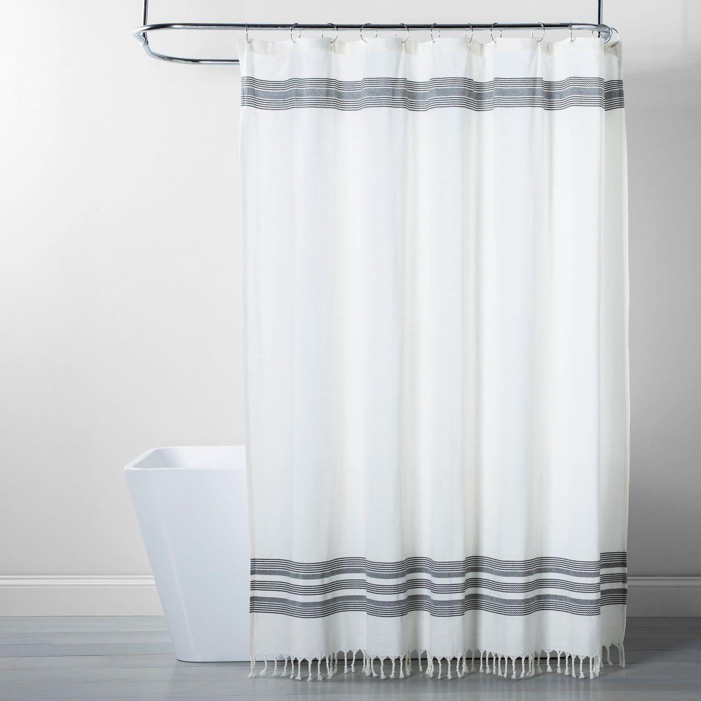 Stripe Fringe Shower Curtain White Gray Threshold White