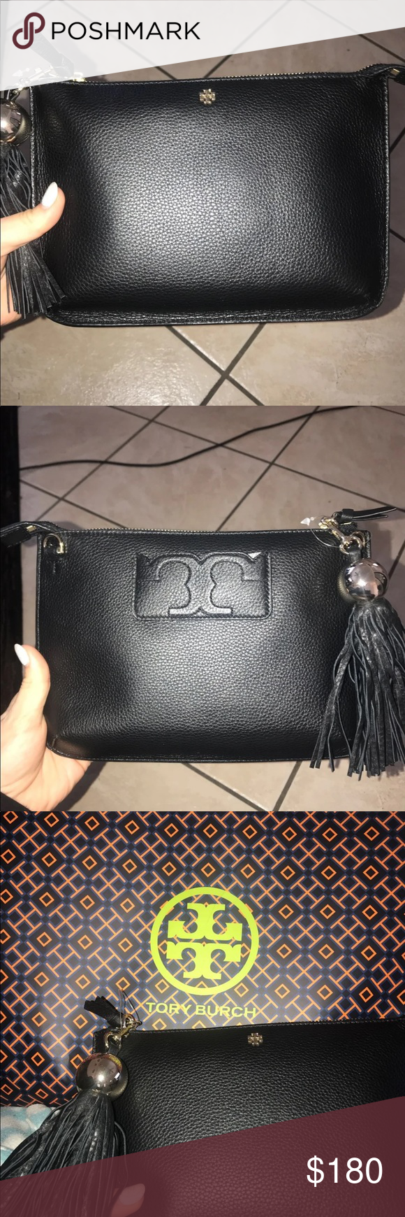 """Tory Burch Black crossbody Brand new with tags Black Tory Burch crossbody  bag Comes with tassel 9.5""""L x 1.75""""W x 7""""H Tory Burch Bags Crossbody Bags b0af16de6d"""