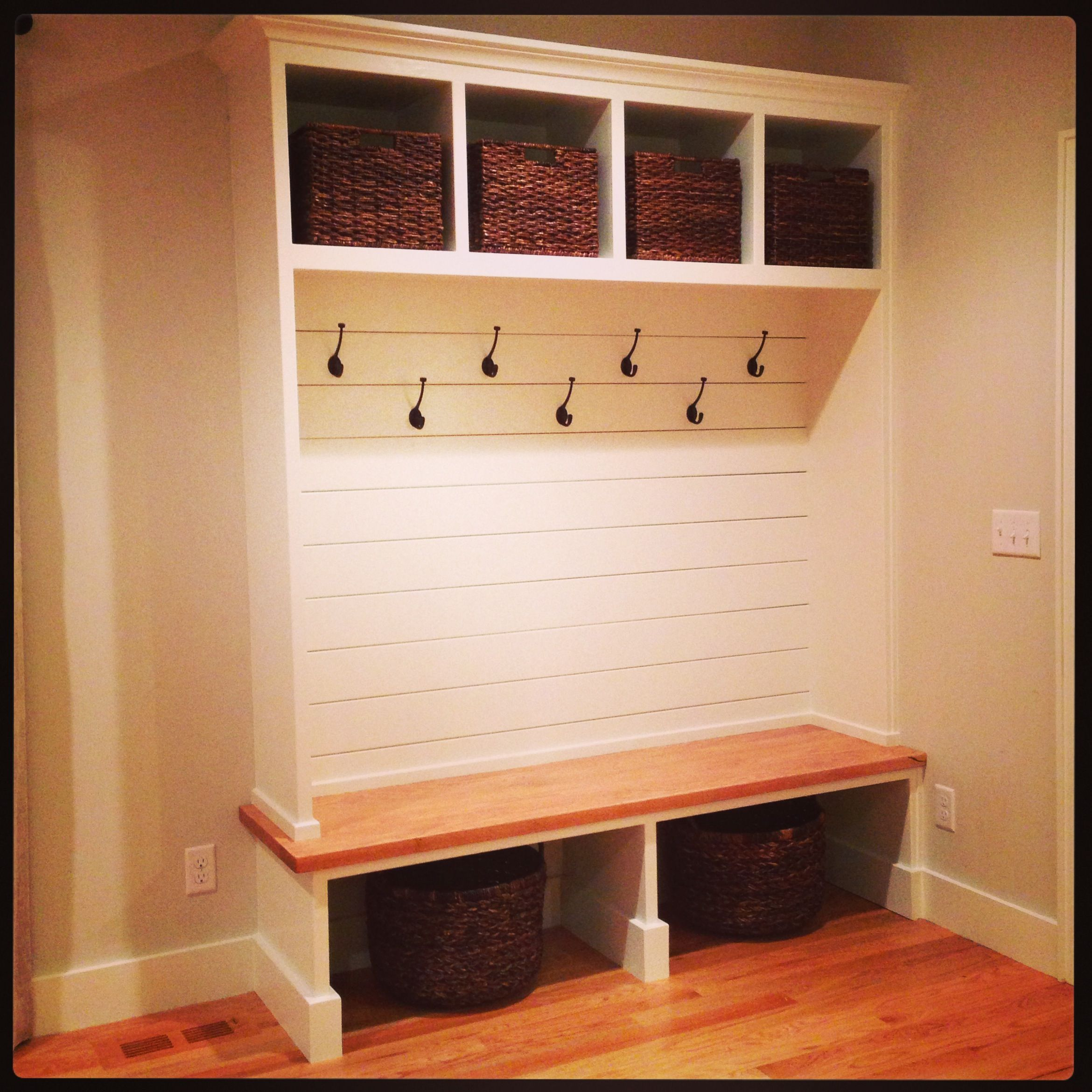 I like all the hooks and the open design need more room Mudroom bench and hooks