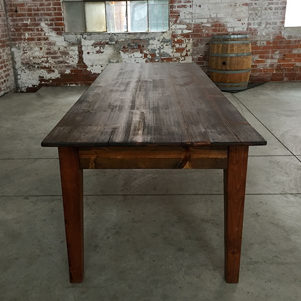 Hand Crafted Breanna Walnut Stained Farm Tables JULIES Wedding Day - Farm to table sacramento
