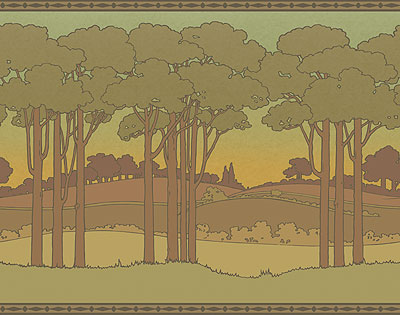 Idylwild Wallpaper Frieze In Ochre Art And Craft Design Arts And Crafts Movement Arts Crafts Style