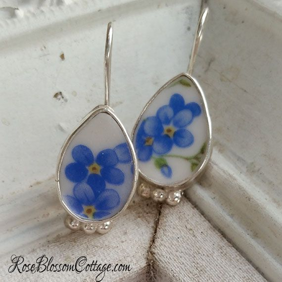 Petite Oval Broken China Jewelry Forget me Not Sterling Earrings www.RoseBlossomCottage.com, $68 ppd