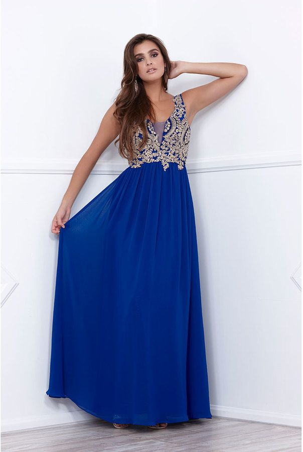 Long Royal Blue Evening Dress with Black Embroidery - $159