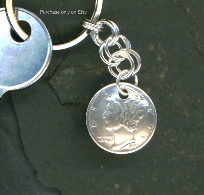 75th Birthday Gift 1944 Dime Keychain Coin Money By WvWorksJewelry On Etsy
