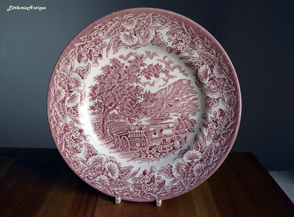 Retro English Ironstone Tableware EIT England Pink Transferware Classical English Countryside Scenery Rural Motif Bread/ & Retro English Ironstone Tableware EIT England Pink Transferware ...
