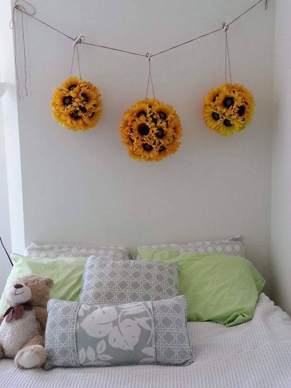 Sunflower Pomander Kissing Ball To Hang Above The