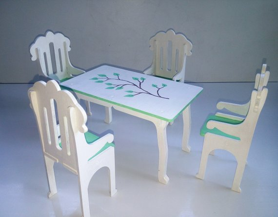 Table And Chairs For The Dollhouse Barbie Dining