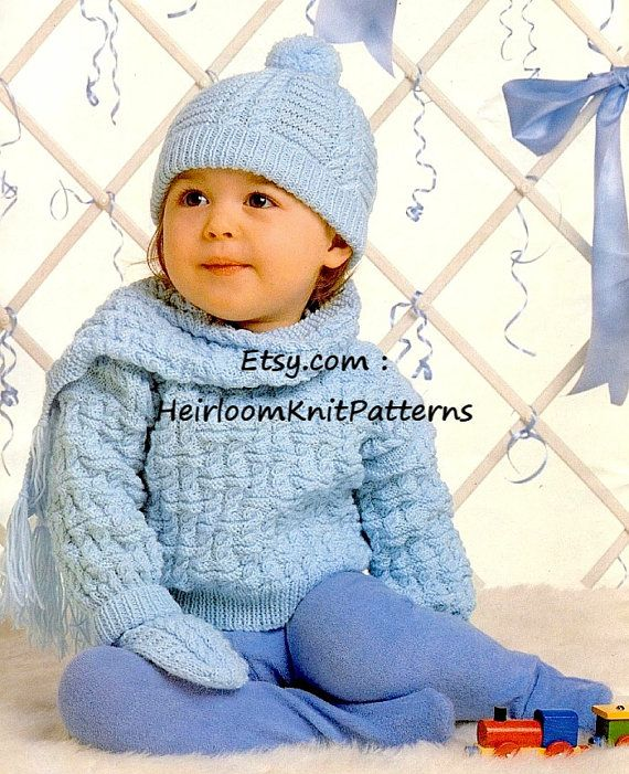 5488da36f Baby Sweater Hat Scarf Mittens Vintage Knitting Pattern 18-24   Knit ...