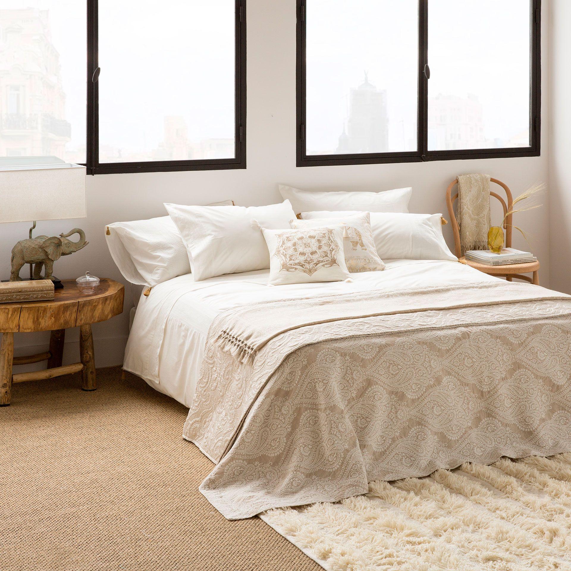 Tagesdecke Und Kissenbezug Aus Baumwolle Und Leinen Mit