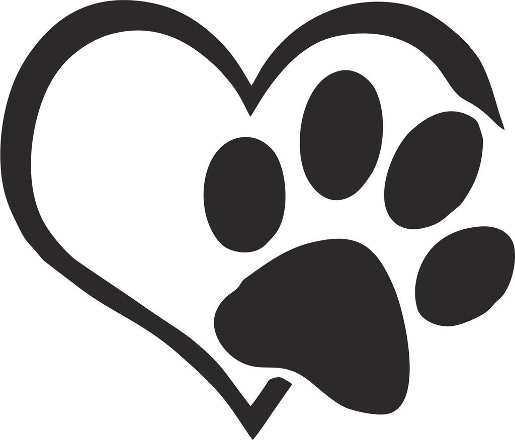 Heart and paw vinyl decal dog paw tattoo cat tattoo