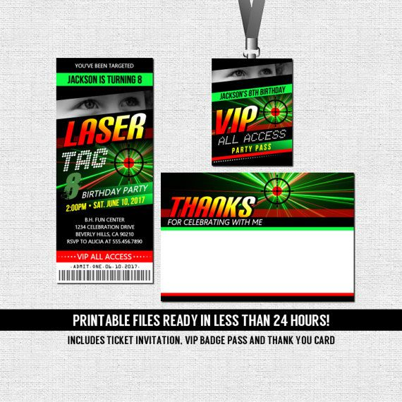 Laser Tag Birthday Party Ticket Invitation  Thank You Card  Vip