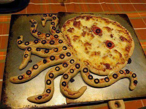 اخطبوط بيتزا Food Humor Fun Kids Food Creative Food