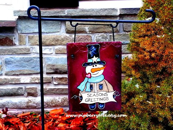 Decorative Slate Signs Unique Snowman With Banner Hand Painted Decorative Slatepipberrytree Review