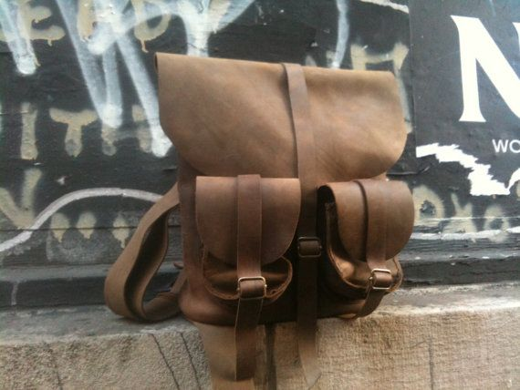 Handmade leather back pack rucksack hand by LUSCIOUSLEATHERNYC, $349.00