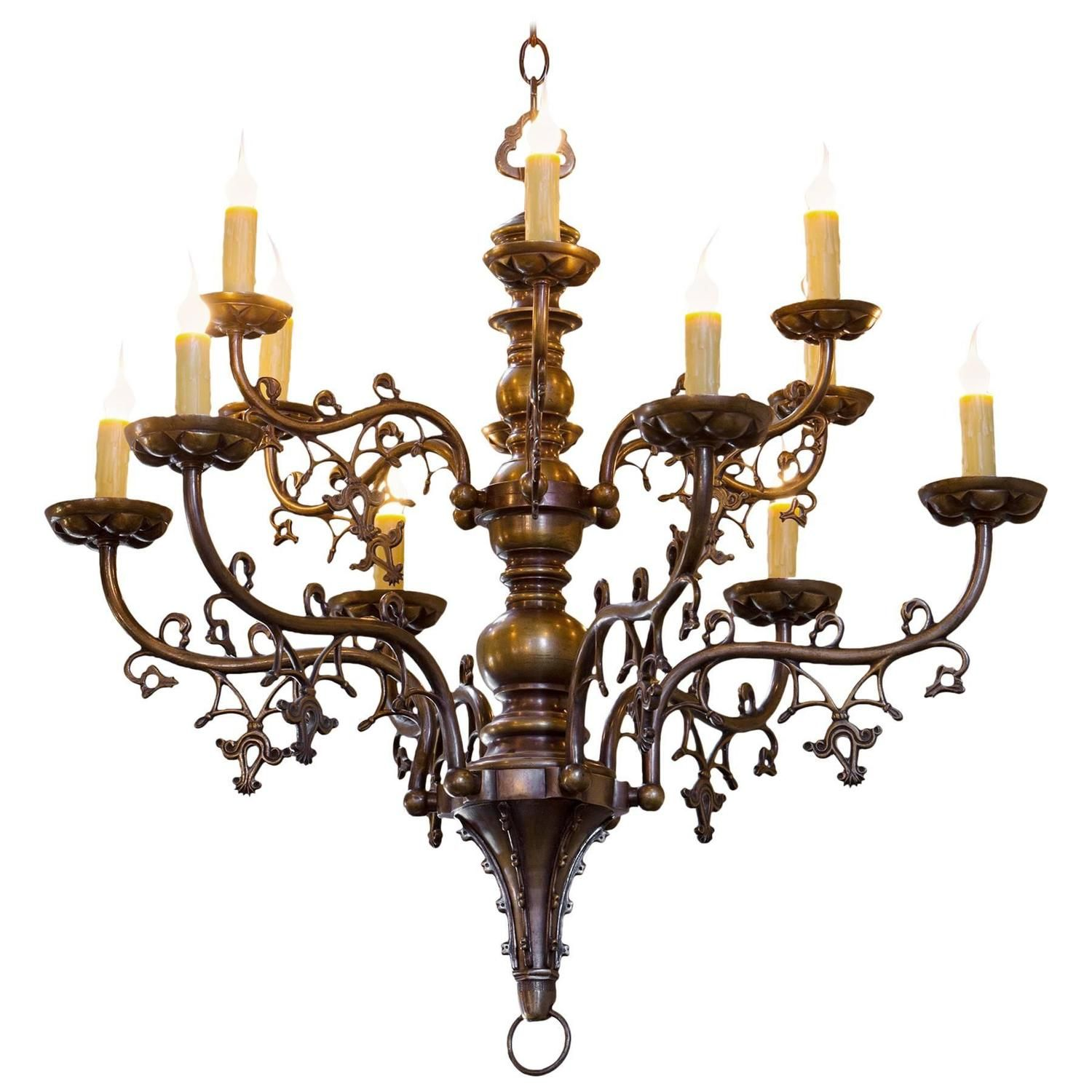 Belgian gothic style bronze chandelier with twelve arms circa 1900 antique belgian gothic style bronze chandelier with twelve arms circa 1900 aloadofball Gallery