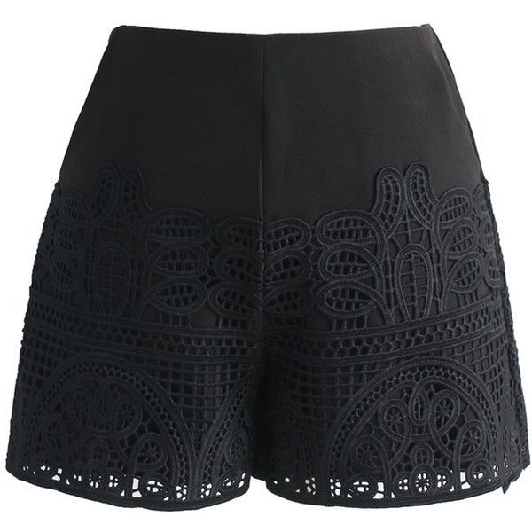 Chicwish Crochet Feast Shorts in Black (€42) ❤ liked on Polyvore featuring shorts, black, ruffle shorts, frilly shorts, dress shorts, cut-off shorts and cutoff shorts
