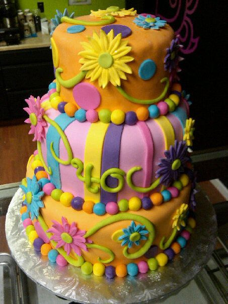 3 tier Neon 40th Birthday Cake with Daisies 40 birthday Tiered