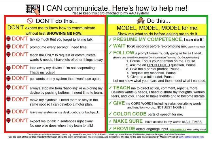 From Lauren Enders This Is A 4x6 Printable Aac Implementation Card To Attach To Aac Syst Speech And Language Speech Therapy Resources Speech Language Therapy