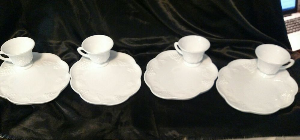 Vintage White Milk Glass Grapes & Leaves Sandwich Plate With Matching Cups   Pottery & Glass, Glass, Glassware   eBay!