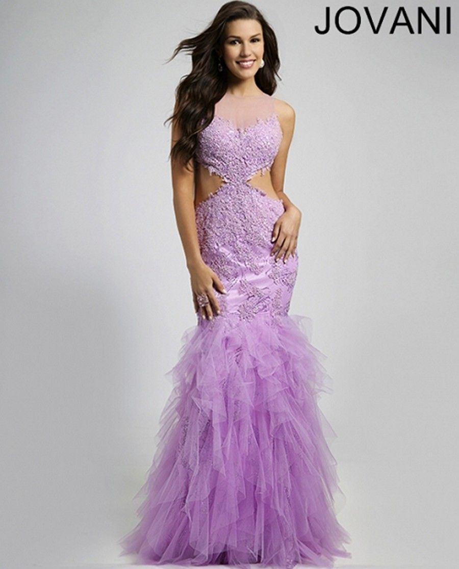 This jovani jvn sleeveless prom dress is styled in fitted