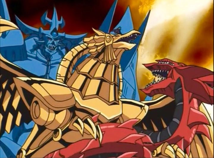 Slifer The Sky Dragon And Obelisk The Tormentor And The Rest Of Yugi S Monsters Restrain And Hold Down The Win Dragon Wings Egyptian Gods Obelisk The Tormentor