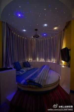 Wonderful Starry Night Bedroom. AMAZING!!!!! I Need This!